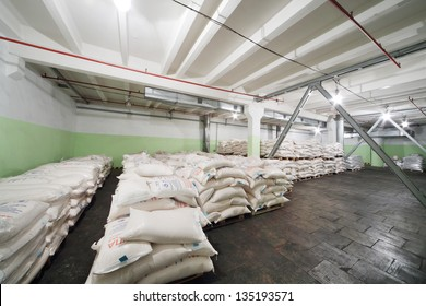 MOSCOW - MAY 31: Sacks of corn grits for beer in Ochakovo factory, May 31, 2012, Moscow, Russia. Ochakovo company produces beer, brew, alcoholic and non-alcoholic beverages.