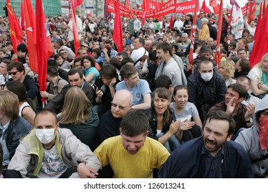 MOSCOW - MAY 6: Participants of the demonstration against newly elected president Vladimir Putin sit protesting on May 6, 2012 in Moscow, Russia.
