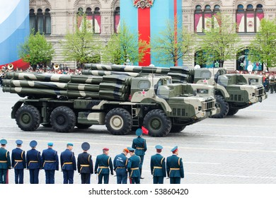 MOSCOW - MAY 6: Smerch RSZO - heavy multiple rockets launcher. Dress rehearsal of Military Parade on 65th anniversary of Victory in Great Patriotic War on May 6, 2010 on Red Square in Moscow