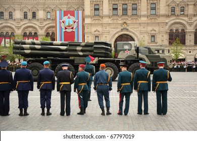 MOSCOW - MAY 6: Smerch RSZO - heavy multiple rockets launcher participate in rehearsal in honor of Great Patriotic War victory on Red Square on May 6, 2010 in Moscow, Russia