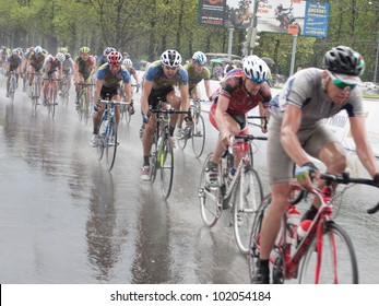 """MOSCOW - MAY 8, 2012: Unidentified cyclists during the """"Five rings of Moscow"""" cycling street race in Moscow on May 8, 2012"""