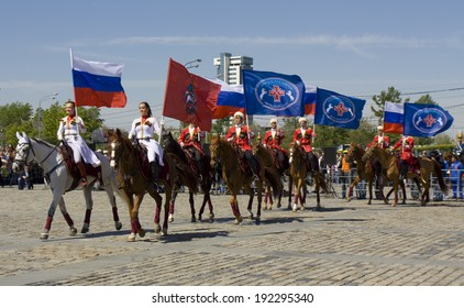 MOSCOW - MAY 9, 2014: cavalry show in memorial  Poklonnaya hill devoted to holiday Victory day of victory in Second World War, participants President cavalry regiment and Kremlin cavalry school.