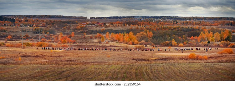 "MOSCOW, MOZHAYSK - CTOBER 10, 2014: Historical reconstruction of famous russian hounds hunting by horse club ""Avanpost"" in Mozhaisk, Russia. 4 october 2014"
