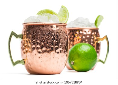 Moscow mule cocktail isolated on white background