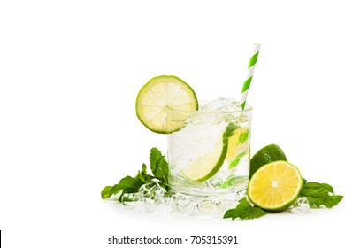 Moscow Mule Cocktail Isolated on White Background. A Moscow mule is a cocktail made with vodka, spicy ginger beer, and lime juice. Selective focus.