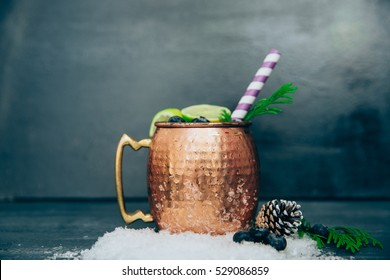 Moscow mule cocktail set, ingredients for Christmas and New Year holiday drink