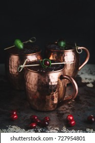 Moscow Mule cocktails on dark moody background
