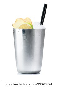 Moscow Mules cocktail served in frozen metal cup  isolated on white
