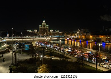 Moscow at night (Moscow State University, Moscow river, embankment). Moscow, Russia