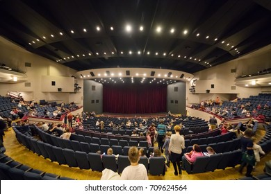 MOSCOW - NOV 19, 2016: People leave hall after Carlson performance in Moscow theater of Satire