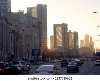 MOSCOW - November 05: Buildings at New Arbat Street, on November 05, 2018 in Moscow, Russia. Highway, called the New Arbat, was built in 1963.