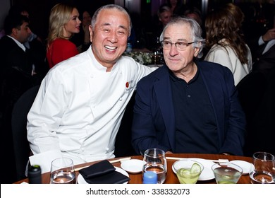 MOSCOW - NOVEMBER 09: Matsuhisa and Robert De Niro visited opening of Nobu restaurant on November 09, 2015 in Crocus City Mall, Moscow, Russia