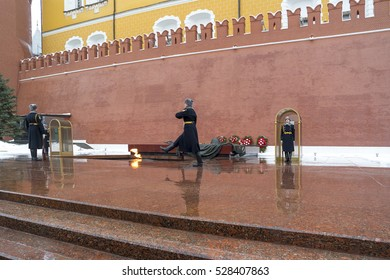MOSCOW -NOVEMBER 11, 2016: To relieve a sentry on the post at the Eternal Flame at the Tomb of the Unknown Soldier in Moscow, Russia
