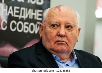 MOSCOW - NOVEMBER 13: The first President of USSR Mikhail Gorbachev presents his book With myself in Moscow House of Books, November 13, 2012 in Moscow, Russia.