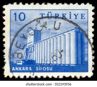 MOSCOW, NOVEMBER 17, 2015: TURKEY - CIRCA 1960: Postage stamp printed in Turkey, depicted Grain elevator, Ankara, circa 1960