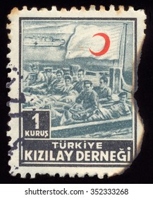 MOSCOW, NOVEMBER 17, 2015: TURKEY- CIRCA 1953: stamp printed by Turkey, shows red crescent, circa 1953