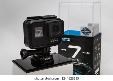 Moscow. November 2018.  GoPro HERO 7 Black in original packaging front and side view. The action camera with new feature fuctions hypersmooth, Live stream, TimeWarp and SuperPhoto.