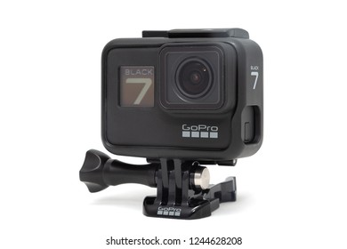 Moscow. November 2018. Isolated GoPro HERO 7 Black product in plastic protective case. The action camera with new feature fuctions hypersmooth, Live stream, TimeWarp and SuperPhoto.