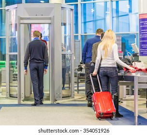 MOSCOW - NOVEMBER 23, 2013: people in the hall of the airport Domodedovo November 23, 2014 in Moscow. Domodedovo airport - the largest and modern airport of Russia