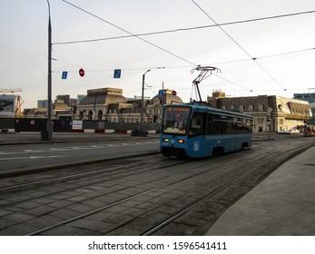 Moscow - November 25, 2019. KTM-19 Annushka tram in Dubininskaya street.