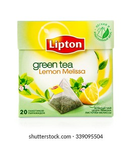 MOSCOW - Novenber 14, 2015: Box of Lipton Green Tea. Studio shot, isolated on white background.