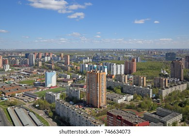 MOSCOW OBLAST, RUSSIA - MAY 07, 2017: The cityscape, top view of the Khimki city