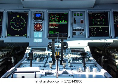 Moscow Oblast, Zhukovskiy Airport/Russia-08.28.19: The aircraft's demonstration on Airshow MAKS 2019. Cockpit of Sukhoi Superjet 100.