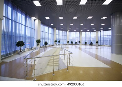 MOSCOW - OCT 14, 2015: Empty spacious and light hall with stairs, Ice Arena Balashikha was built in 2007 with support of VTB Bank