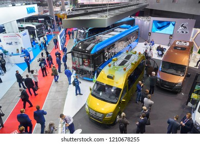 MOSCOW, OCT, 23, 2018: View on modern diesel buses, electro buses presented by automobile companies GAZ and KAMAZ on exhibition BusWorld. Automobile industry commercial transport new electric concepts