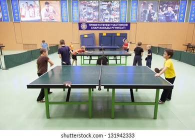 MOSCOW, OCT 23: Childrens competition ping pong in Russian State University of Physical Culture, Sports and Tourism October 23, 2010 in Moscow, Russia.