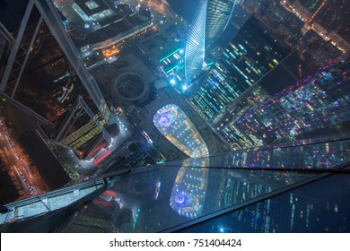 MOSCOW - OCT 7, 2014: Illuminated Moscow International Business Center at night. Years of construction of complex - 1995-2018, Focus on lower right corner