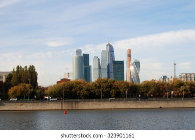 MOSCOW - OCTOBER 04, 2015: Moscow City, office buildings and living houses complex. Famous landmark, example of modern architecture.