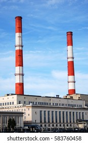 MOSCOW - OCTOBER 04, 2015: Heat power station N 12 in Moscow. Moscow city historical center, famous landmark. Color photo.