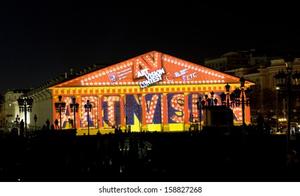 """MOSCOW - OCTOBER 06: exhibition hall """"Manezh"""" illuminated for festival """"Circle of light"""" on October 06, 2013 in Moscow."""