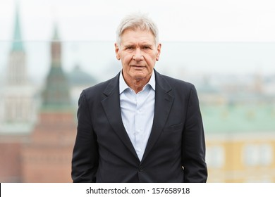 MOSCOW - OCTOBER 09: Harrison Ford attends the photo call 'Ender's Game' during the premiere of this film on October 09, 2013 in Ritz Carlton Hotel, Moscow, Russia