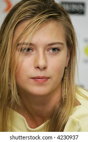 MOSCOW - OCTOBER 10:  Russia's Maria Sharapova in a press conference for the the Kremlin Cup tennis tournament on October 10, 2005 in Moscow.