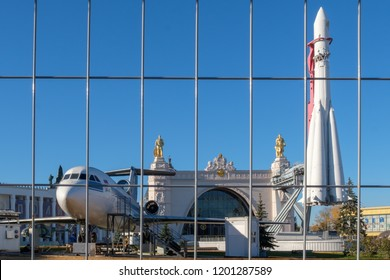 "Moscow - October 12, 2018: Vostok spaceship near the pavilion ""Cosmos"" at the exhibition ""VDNH"""
