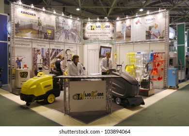 MOSCOW- OCTOBER 12:Stand washing equipment of German company Karcher at the international exhibition AGROPRODMASH `2011 on October 12,2011 in Moscow