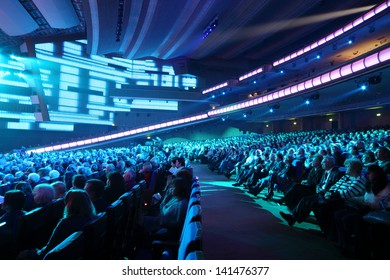 MOSCOW - OCTOBER 14: Many people listen anniversary concert of Edita Piecha in Kremlin Palace, on October 14, 2012 in Moscow, Russia.