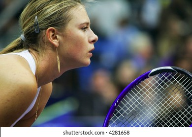 MOSCOW - OCTOBER 14:  Russia's Maria Sharapova in the quarterfinal game of the Kremlin Cup tennis tournament on October 14, 2005 in Moscow.