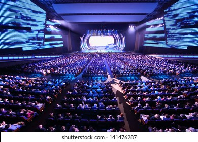 MOSCOW - OCTOBER 14: Spectators at concert of Edyta Piecha at Kremlin Palace, on October 14, 2012 in Moscow, Russia. Singer during her lifetime became owner of large number of awards.