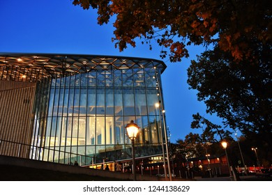 MOSCOW - OCTOBER 15, 2018: View of Zaryadye park, new landmark in Moscow city historic center open in 2017. Color evening photo.