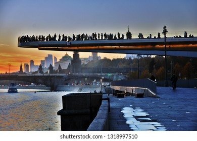 MOSCOW -  OCTOBER 15, 2018: View of Zaryadye park, new landmark in Moscow city historic center open in 2017. Color photo.