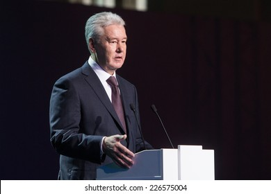 MOSCOW - OCTOBER 15: Moscow Mayor S. Sobyanin during First Moscow International Forum - Culture. Look into the future on October 15, 2014 in Moscow, Russia.