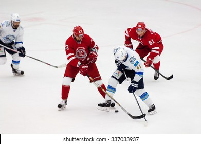 MOSCOW - OCTOBER 17, 2015: D. Boyd (41) and I. Golovkov (52) in action during hockey game Vityaz vs Barys on Russia KHL championship on October 17, 2015, in Moscow, Russia. Vityaz won 4:3