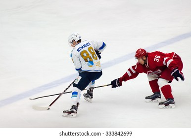 MOSCOW - OCTOBER 17, 2015: E. Rymarev (88) and A. Nikulin (36) in action during hockey game Vityaz vs Barys on Russia KHL championship on October 17, 2015, in Moscow, Russia. Vityaz won 4:3