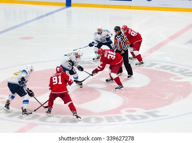 MOSCOW - OCTOBER 17, 2015: M. St. Pierre (93) and A. Nikulin (36) on face-off during hockey game Vityaz vs Barys on Russia KHL championship on October 17, 2015, in Moscow, Russia. Vityaz won 4:3