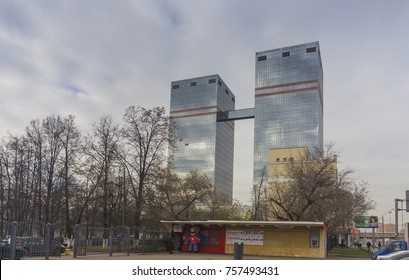 Moscow, - October, 2017. Building of  Mail.ru group with CSKA ice hockey ticket office on the foreground