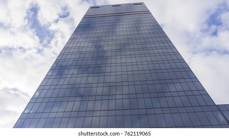 Moscow, - October 2017. View of mail.ru headquarters building from below