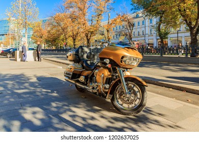 Moscow - October, 2018: Touring motorcycle at Trubnaya Ploshchad is a square in Central Administrative District of Moscow, on Boulevard Ring. Petrovsky Boulevard, Christmas Boulevard, Neglinnaya.